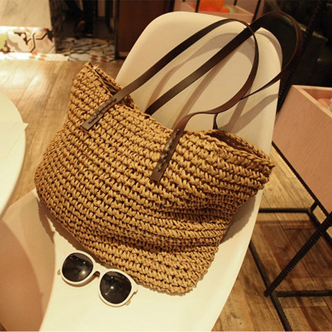 Women Handbag Summer Beach Bag Rattan Woven Handmade Knitted Straw Large Capacity Totes Leather Women Shoulder Bag Bohemia New - PrintiLya