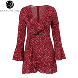 Lily Rosie Girl Print Flare Long Sleeve Women Dress Deep V Neck Crop Beach Sexy Dress Dot Ruffles Short Boho Dress Vestidos - PrintiLya