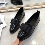 MCCKL Spring Flats Women Shoes Bowtie Loafers Patent Leather Elegant Low Heels Slip On Footwear Female Pointed Toe Thick Heel - PrintiLya