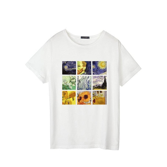 New Van Gogh art oil painting lattice print cute plus size casual female summer short-sleeved bf Harajuku T-shirt 2019 - PrintiLya