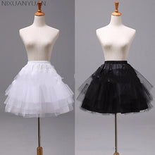 Load image into Gallery viewer, White Black Short 3 Layers Petticoats - PrintiLya