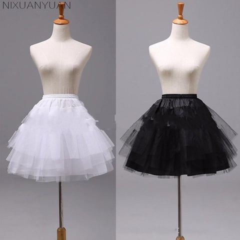 White Black Short 3 Layers Petticoats - PrintiLya