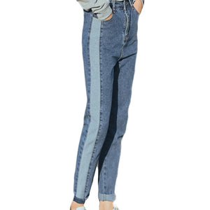 Two-tone Casual Patchwork Ankle-Length Jeans High Waist Vintage jeans for women Boyfriend Trousers - PrintiLya