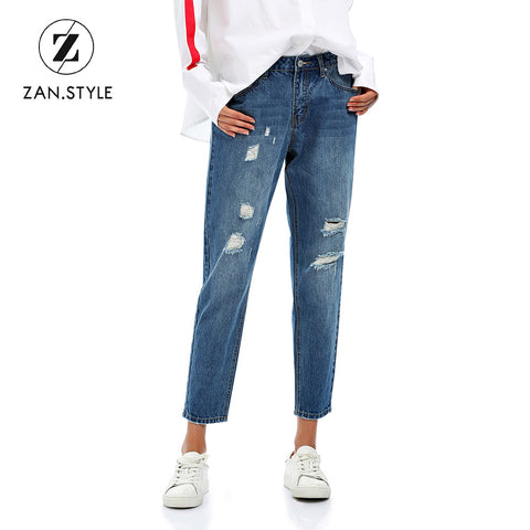 Streetwear Ripped hole jeans female Casual pocket pencil jean pants Autumn winter low waist jean women bottom Trousers - PrintiLya