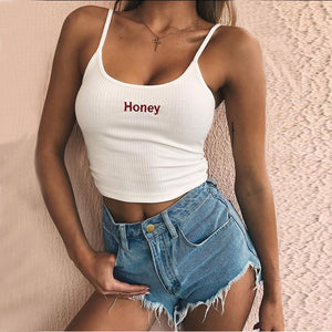 Summer Women Top Strapless Cropped Top Honey Paris Letter Printed Sexy Women Tank Tee Halter Top For Women Femme - PrintiLya