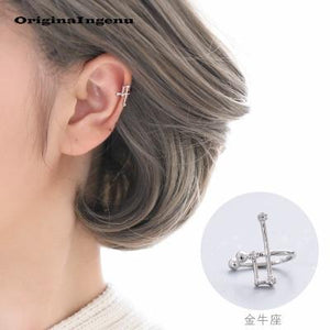 Constellations Earrings No Piercing 12 Constellations Ear Cuff Charm Personality 925 Sterling Silver Earrings Jewerly For Women