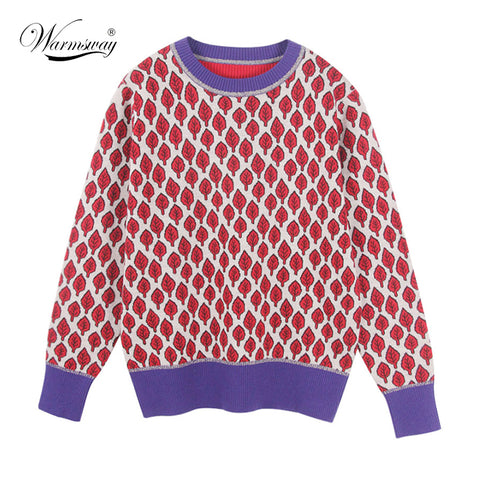 Women New vintage red leaf Jacquard  warm sweaters long sleeve o neck lurex pullovers  autumn knitted retro tops blusas - PrintiLya