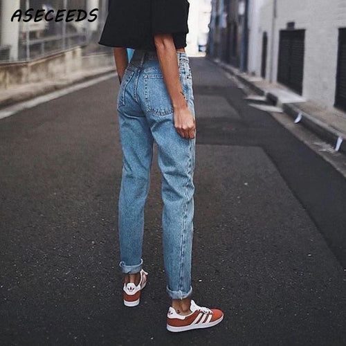 Vintage ladies boyfriend jeans for women mom high waisted jeans blue casual pencil trousers korean streetwear denim pants - PrintiLya