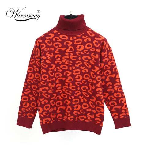 Women Sweater Pullover Knitted Tops Red Leopard Thicken Jumper Fahion Turn-down Collar Sweaters Autumn Winter - PrintiLya
