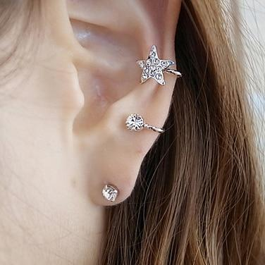 Hot Selling Fashion Charm Crystal Earrings On Clip For Women Small Ear Cuff Wrap Earrings 1PC 5E264