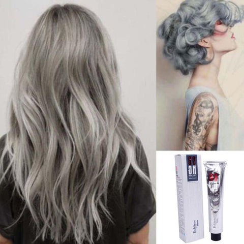 Hot Fashion Womens Dye Hair Cream 100ML Hair Color Permanent Punk Hair Dye Light Gray Silver Colors Cream Hair Care Products - PrintiLya