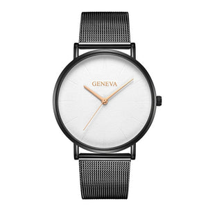 Simple Women Men Watches Top Brand Luxury Stainless Steel Mesh Quartz Wristwatches Fashion Clock ladies - PrintiLya