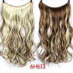 24 inch Long Synthetic Hair Heat Resistant Hairpiece Fish Line Straight Hair Extensions Secret Invisible Hairpieces - PrintiLya
