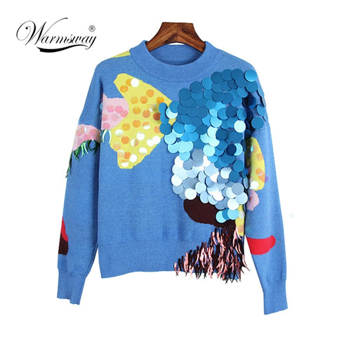 2019 Spring New Fashion Women Short Sweaters Full Sleeve O-Neck Sequined Blue Pullovers Computer Knitted Pageant - PrintiLya