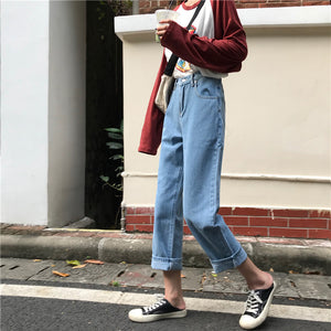 Jeans Denim Women New Chic Solid Simple High Waist Straight Zipper All-match Womens Korean Style Loose Fashion Students Daily - PrintiLya