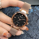 Luxury Rose Gold Women Watches Crystal Female Stainless Steel Mesh Quartz Wrist Watch - PrintiLya