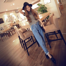Load image into Gallery viewer, Women New Denim Vintage Pockets Casual Zipper Loose All-match Jeans Womens Washed High Waist Trendy Korean Style Soft Trousers - PrintiLya