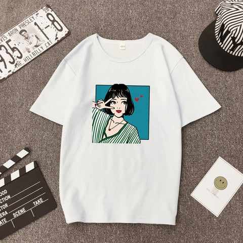 Kawaii girl print T-shirt Summer casual short-sleeve simple Female top tee Korean style 8 color female clothes - PrintiLya