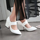 High Heels Shoes Women Mary Janes Shoes Thick High Heel Pumps Autumn Fall Footwear Red Black White Apricot Big Size 34-43 - PrintiLya