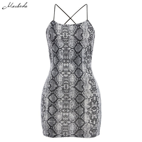 Macheda Sexy Cross Bandage Backless Bodycon Dress Women Sleeveless Halter Summer Dress Snake Print Short Party Casual Mini Dress - PrintiLya
