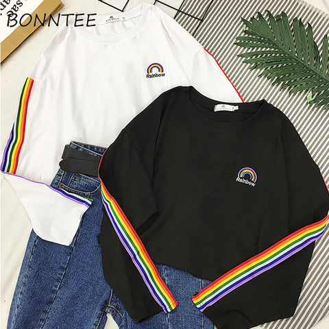 T-shirts Rainbow Striped Kawaii Long Sleeve Soft Loose Embroidery Korean Style Women Tee Lovely Fashion Womens T-shirt All-match - PrintiLya