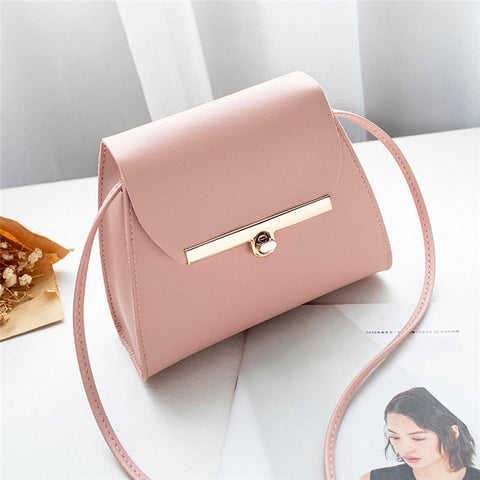 Simple Flap Shoulder PU Leather Bags Women Girls Pure Color Mini Messenger Chest Bag Cross body Handbags bolsa feminina - PrintiLya