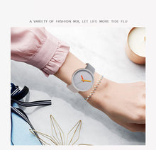 Load image into Gallery viewer, Women Watch Gray Contrast Leather Quartz Watch Women Watches Lovers Unisex Casual Ladies Wrist Watch - PrintiLya
