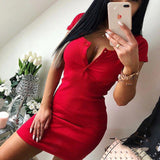 Summer Dress 2019 Fall Women Sexy Casual Knit Sheath Mini Dresses Ladies Solid V Neck Chest Button Short Sleeve Bodycon Dress - PrintiLya