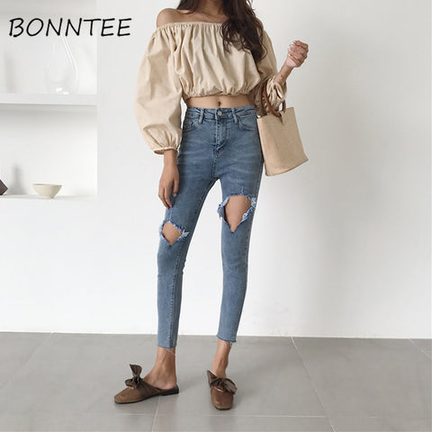 Jeans High Waist Skinny Pencil Pants Hole Womens Fashion Slim Korean Style Zipper Fly Pockets Ripped Denim Trousers for Women