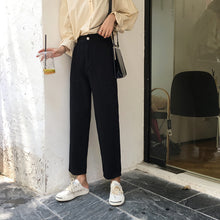 Load image into Gallery viewer, Jeans Women Elastic High Waist Big Pockets Loose Casual Womens Wide Leg Trousers Students Denim Fashion New Style All-match Chic - PrintiLya