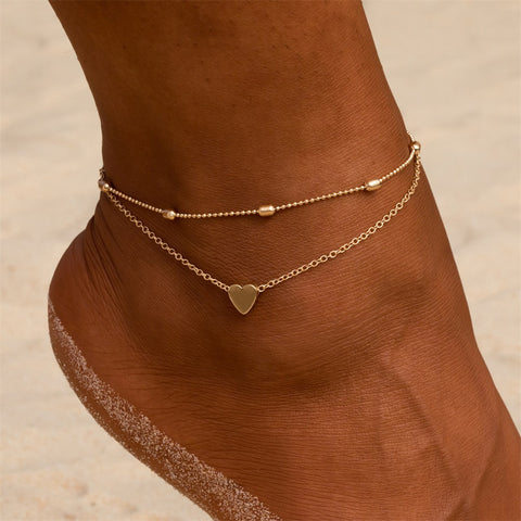 Simple Heart Female Anklets Barefoot Crochet Sandals Foot Jewelry Leg New Anklets On Foot Ankle Bracelets For Women Leg Chain - PrintiLya