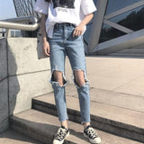 Jeans Denim Women Holes Zipper Pockets Straight Pants Casual Womens Slim High Waist All-match Vintage Chic Korean Style Daily - PrintiLya