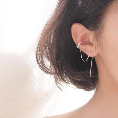 1pcs Earrings Jewelry 925 Sterling Silver Ear Clip Tassel Earrings For Women Gift Pendientes Ear Cuff Caught In Cuffs