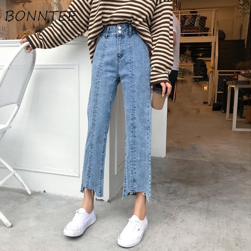 Jeans Woman High Waist Loose Buttons Korean Style Wide Leg Trousers Students Causal High Quality Ripped Denim Female Jean Simple - PrintiLya