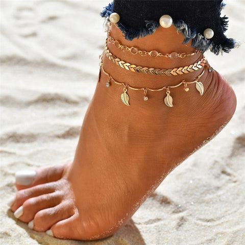 Modyle 3pcs/set Anklets for Women Foot Accessories Summer Beach Barefoot Sandals Bracelet ankle on the leg Female Ankle - PrintiLya