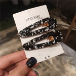 AOMU 1Pair Japan Women Acetic Acid Hair Clips Hairpins Leopard Print Waterdrop Barrettes Girls Hairgrips Hair Accessories - PrintiLya