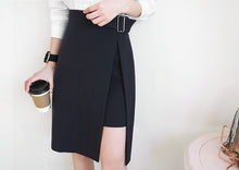 Load image into Gallery viewer, Skirts Womens 2019 Spring Korean Style Office Lady Elegant Side Split Asymmetrical Slim High Waist Midi Skirt Black - PrintiLya