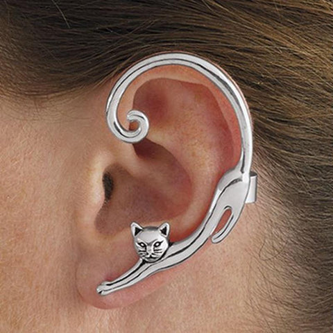 Single Piece Punk Style Gold Silver Plated Cat Post Earring With Ear Cuff Rock Animal Black Stud Earring Women  Ear Wrap