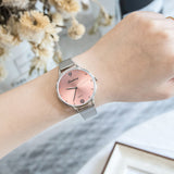 Luxury Women Green Dial Bracelet Quartz Clock Fashion Metal Silver Belt Fashion Creative Dress Watches For Ladies Women Gift - PrintiLya