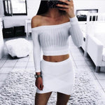 Off shoulder crop top t-shirts long sleeve solid - PrintiLya