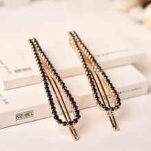 Load image into Gallery viewer, 1Pc Black White Women Crystal Rehinstone Fashion Hairpins Alloy Barrette Hair Clips - PrintiLya