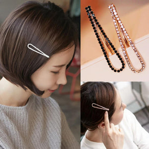 1Pc Black White Women Crystal Rehinstone Fashion Hairpins Alloy Barrette Hair Clips - PrintiLya