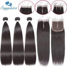 Load image into Gallery viewer, Sapphire Straight Bundles With Closure Brazilian Hair Weave Bundles With Closure Human Hair Bundles With Closure Hair Extension - PrintiLya