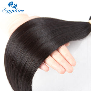 Sapphire Straight Bundles With Closure Brazilian Hair Weave Bundles With Closure Human Hair Bundles With Closure Hair Extension - PrintiLya