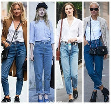 Load image into Gallery viewer, Vintage ladies boyfriend jeans for women mom high waisted jeans blue casual pencil trousers korean streetwear denim pants - PrintiLya