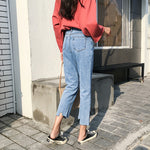 Jeans Women 2019 New Korean Style Loose High Waist Button Solid Trendy Woman Jean Denim Pockets Trendy Students Female Trousers - PrintiLya