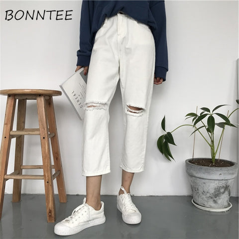 Jeans Women Denim Holes Solid Simple Zipper Pockets Casual Womens All-match High Waist Trousers Student Daily Loose Korean Style - PrintiLya