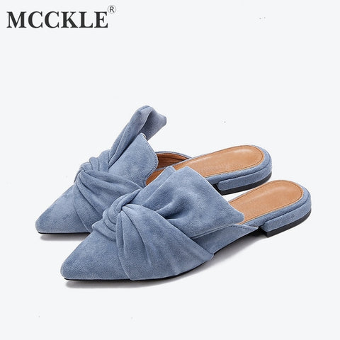 MCCKLE Autumn Women Slippers Flock Bowtie Female Mules Fashion Low Heels Shoe Pointed Toe Plus Size Elegant Woman Slipper - PrintiLya