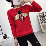 women fall autumn sweater bee jacquard ladies pullovers round neck long sleeves blue sweater top woman Retro - PrintiLya