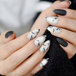 Black Matte Marble Press on Nails Matte Fake Fingernails Frosted Stiletto Nails Pointed Tips Grounded Version - PrintiLya